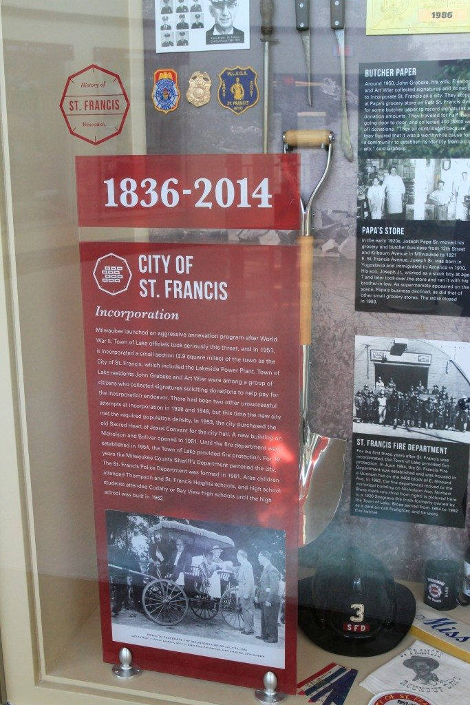St Francis Historical Society Display Case Detail