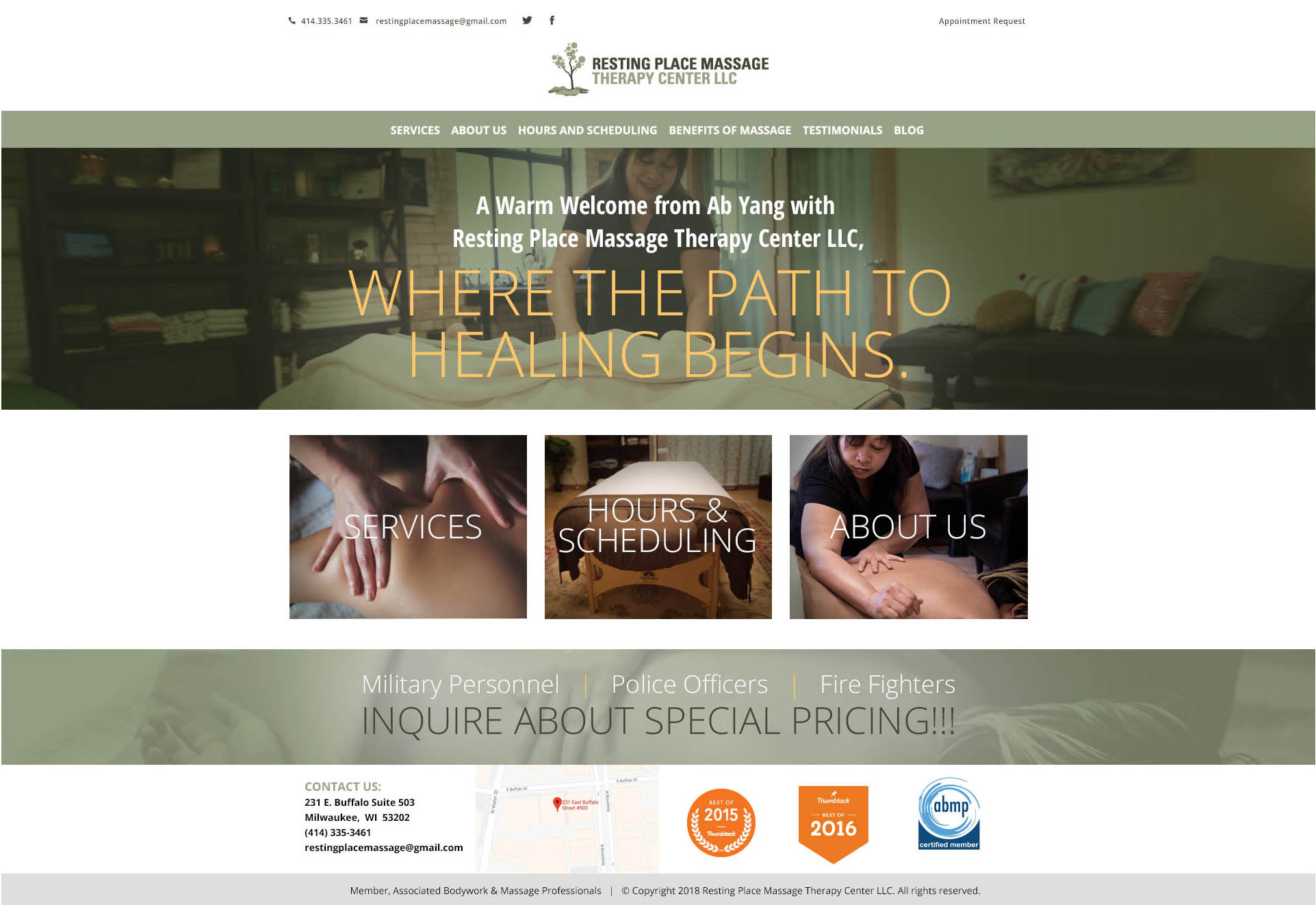resting place massage therapy center web site presentation catral
